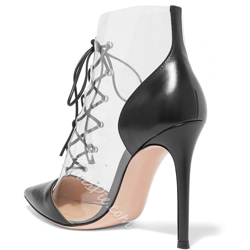 Shoespie Clear Black Stiletto Heel Pumps