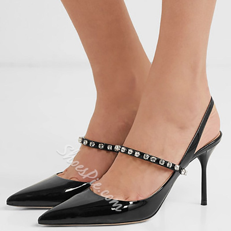Shoespie Beaded Pointed Toe Black Slingback Stiletto Heels