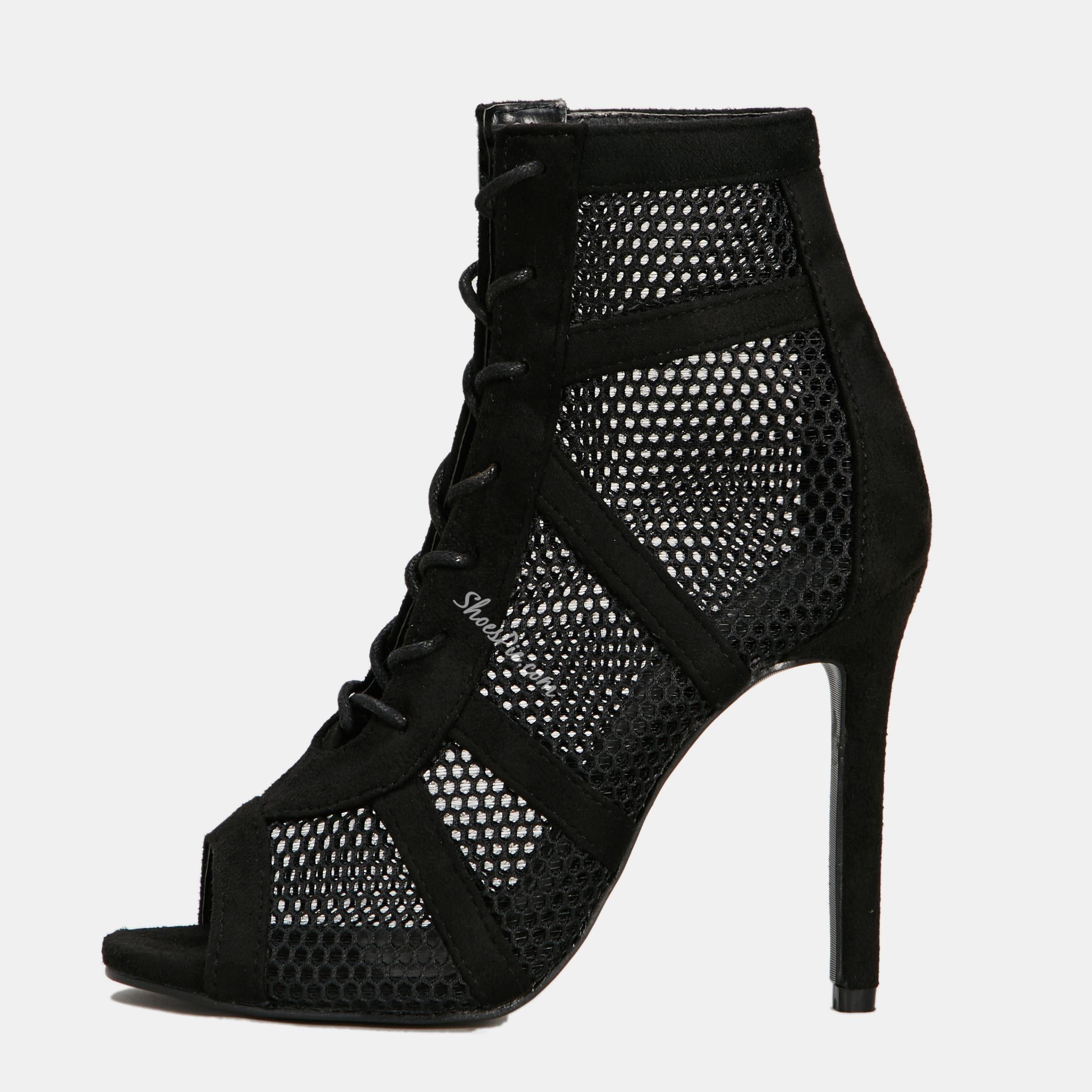 Shoespie Black Trendy Peep Toe Stiletto Heel Lace-Up Ankle Boots