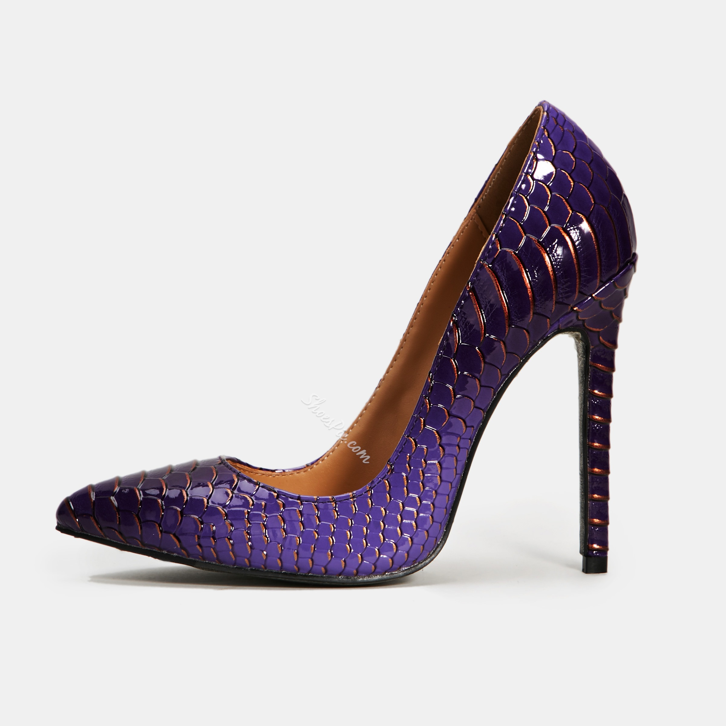 Shoespie Stylish Alligator Pattern Pointed Toe Banquet Stiletto Heels