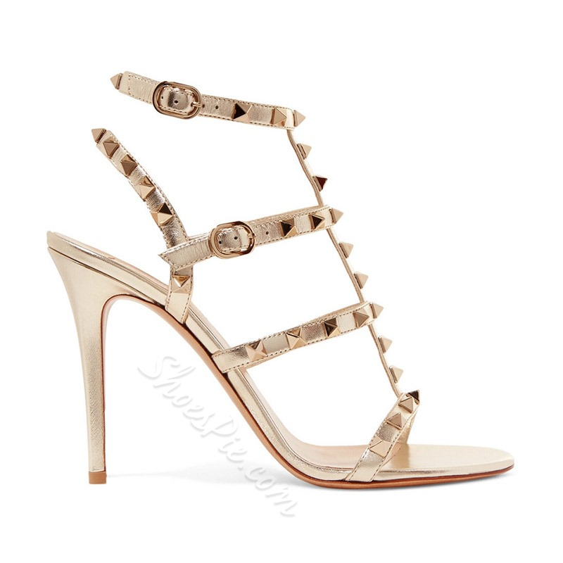 Shoespie Gold Rivet Stiletto Heel Open Toe Buckle Sandals