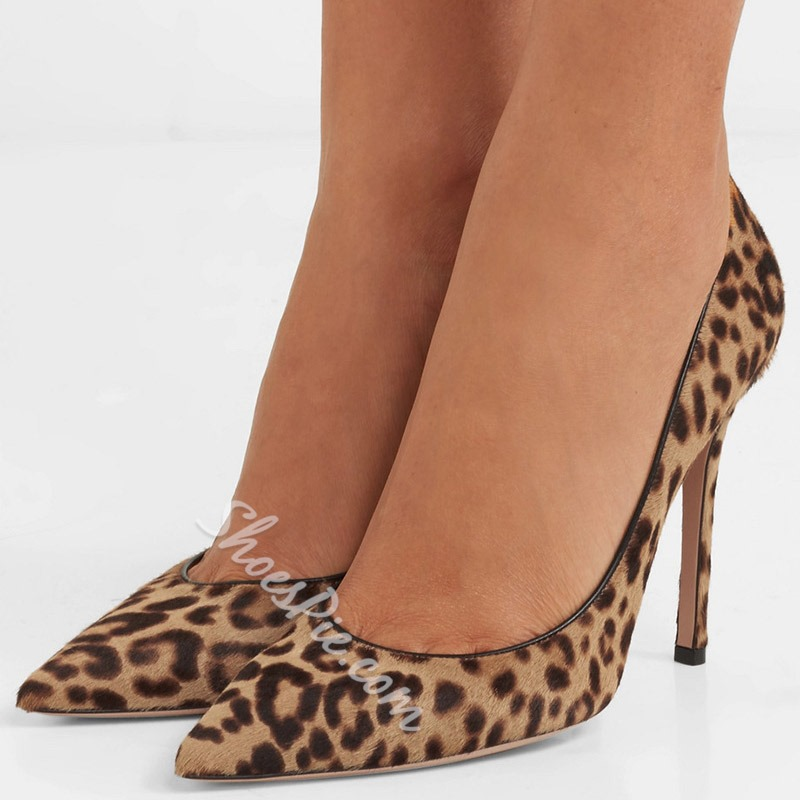 Shoespie Leopard Pointed Toe High Heel Pumps