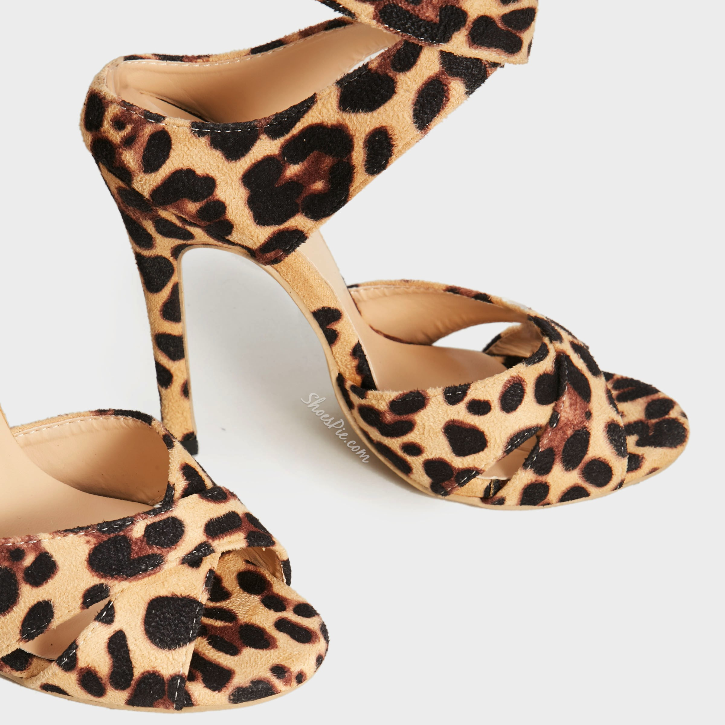 Shoespie Trendy Peep Toe Ankle Strap Stiletto Heel Leopard Dress Sandals