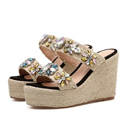Shoespie Rhinestone Sequin Wedge Heel Sandals