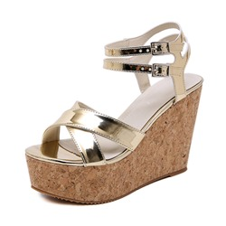 Shoespie Wedge Heel Open Toe Ankle Strap Sandals