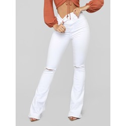 Plain Button Slim Women's Jeans
