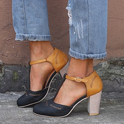 Shoespie Buckle Chunky Heel Shoes