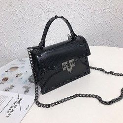 Shoespie PU Plain Chain Flap Tote Bags