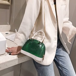 Shoespie Color Block PU Shell Tote Bags