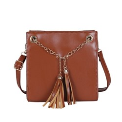 Shoespie PU Plain Tassel Square Crossbody Bags