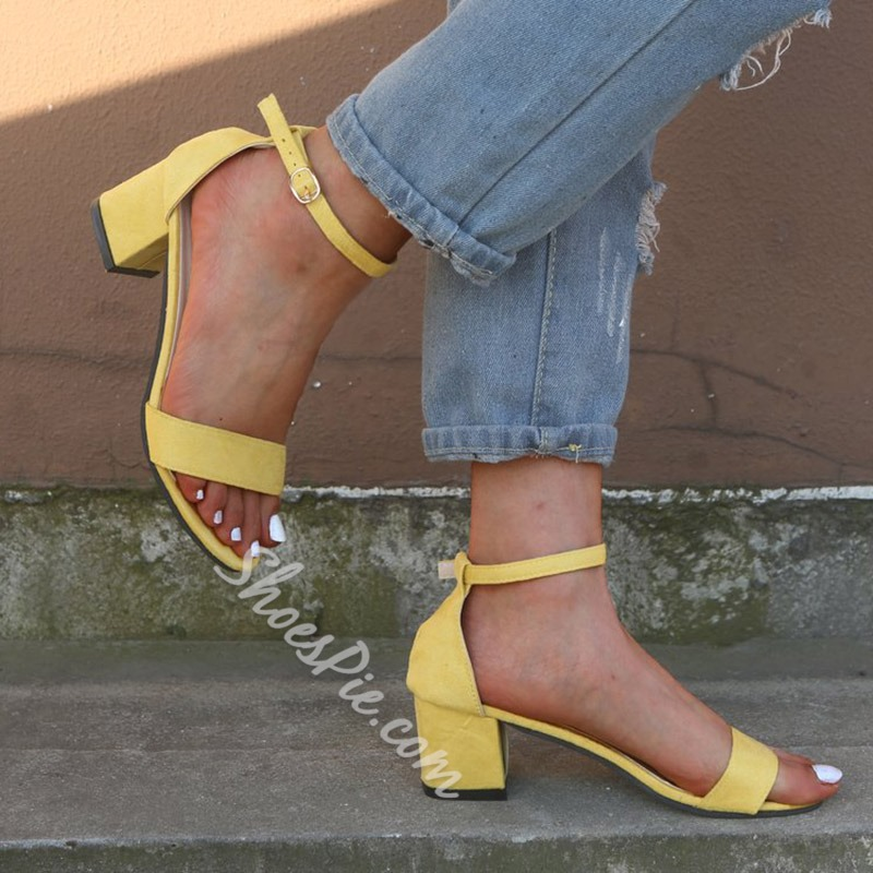 Shoespie Open Toe Solid Buckle Strap Sandals