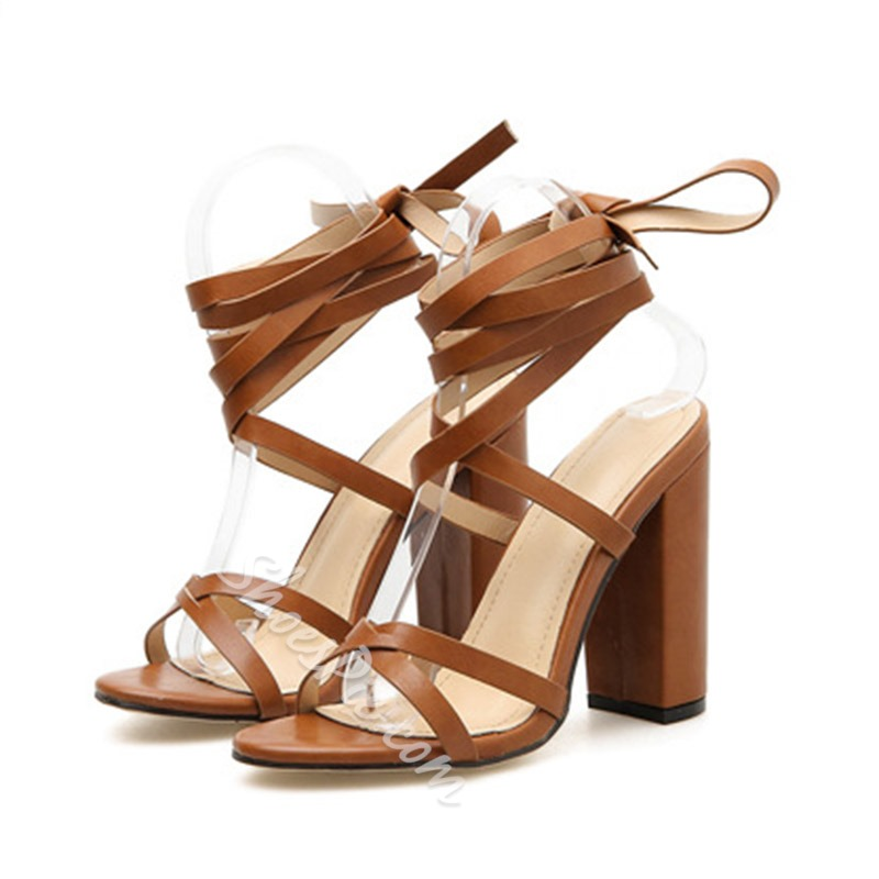 Shoespie Sexy Strappy Chunky Heel Sandals