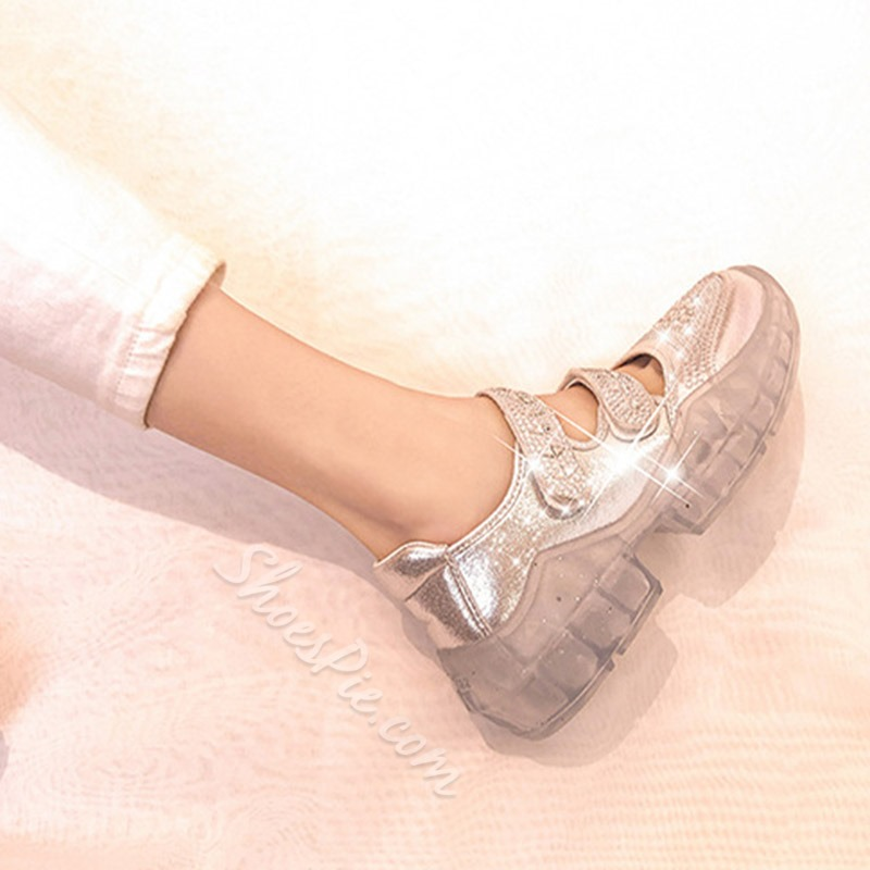 Shoespie Hook Loop Glitter Sneakers