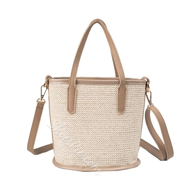 Shoespie Patchwork Grass Knitted Tote Bag