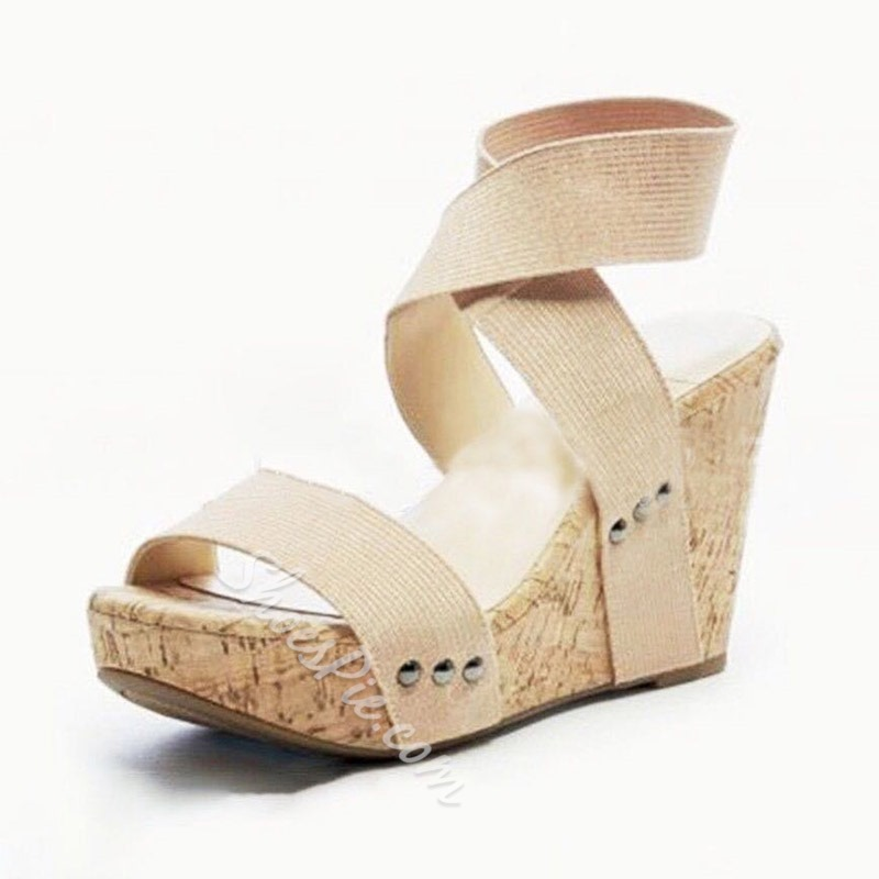 Shoespie Wedge Heel Elastic Band Casual Sandals