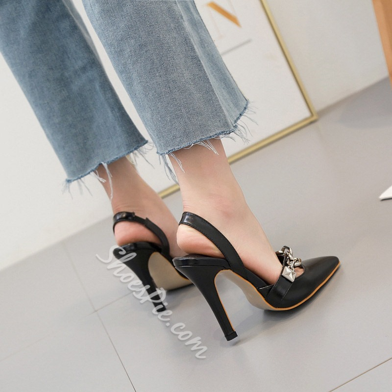 Shoespie Black Pointed Toe Slingback High Heel Sandals