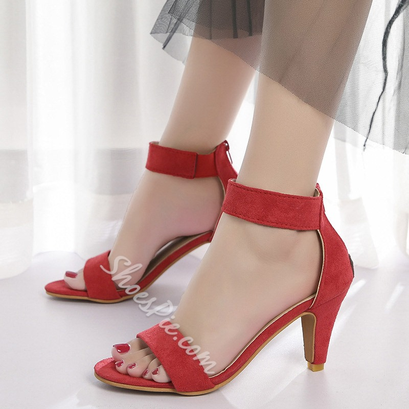 Shoespie Kitten Heel Zipper Sandals