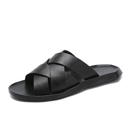 Shoespie Men's Black Simple Plain Slippers