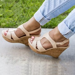 Shoespie Wedge Heel Solid Buckle Strap Slingback Sandals