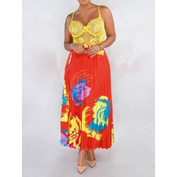 Print Floral Ankle-Length Western Women's Skirt