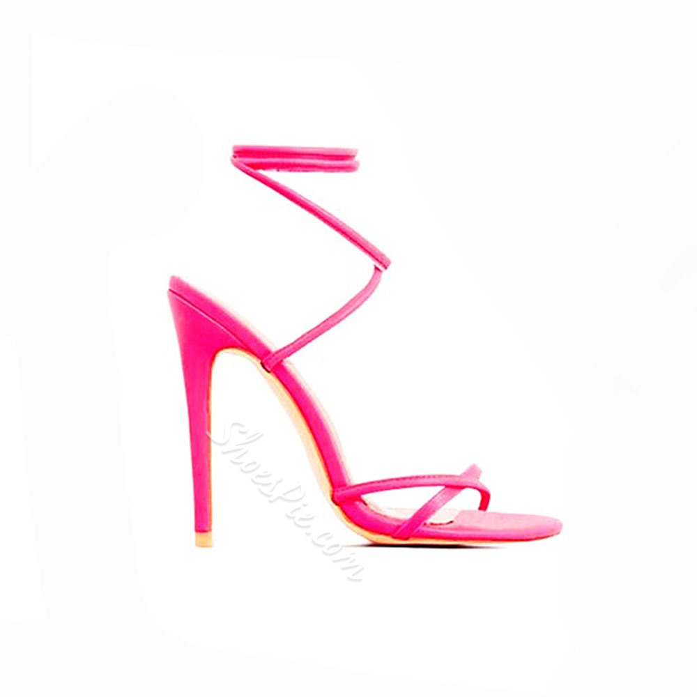 Shoespie Stiletto Heel Strappy Neon Sandals