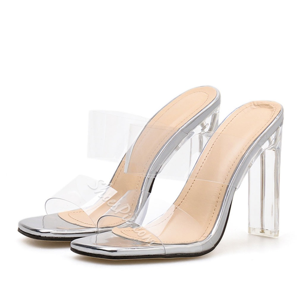 Shoespie Chunky Heel Clear Slippers