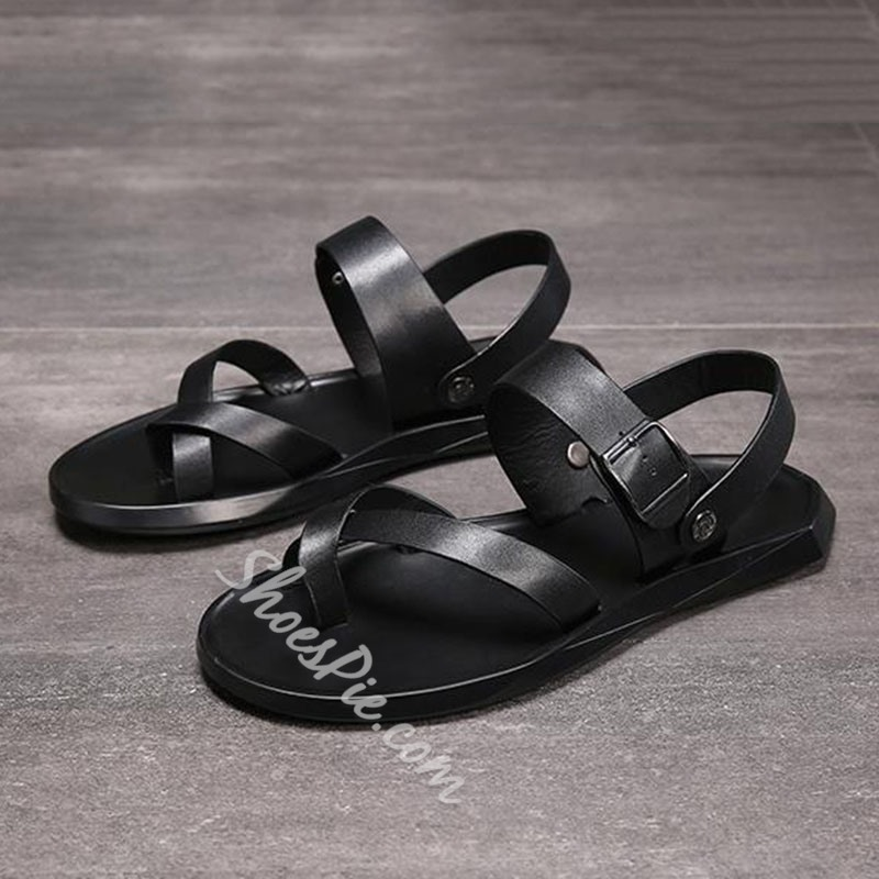 Shoespie Men's Black Buckle Toe Ring Sandals