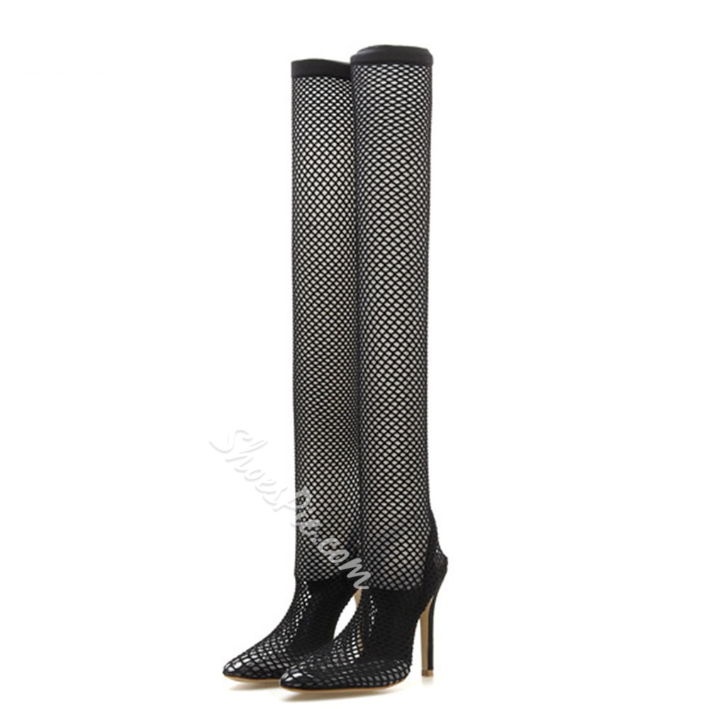 Shoespie Sexy Black Lace Jelly Stiletto Heel Boots