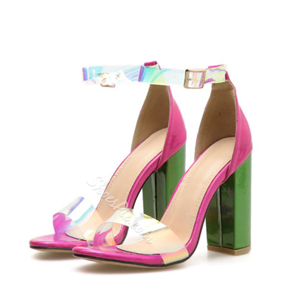 Shoespie Open Toe Buckle Chunky Heel Clear Sandals