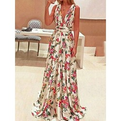 Sleeveless Print Floor-Length A-Line Women's Dress