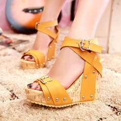 Shoespie Buckle Ankle Strap Open Toe Sandals