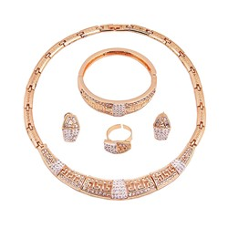 Diamante Bangle Plain Gift Jewelry Sets