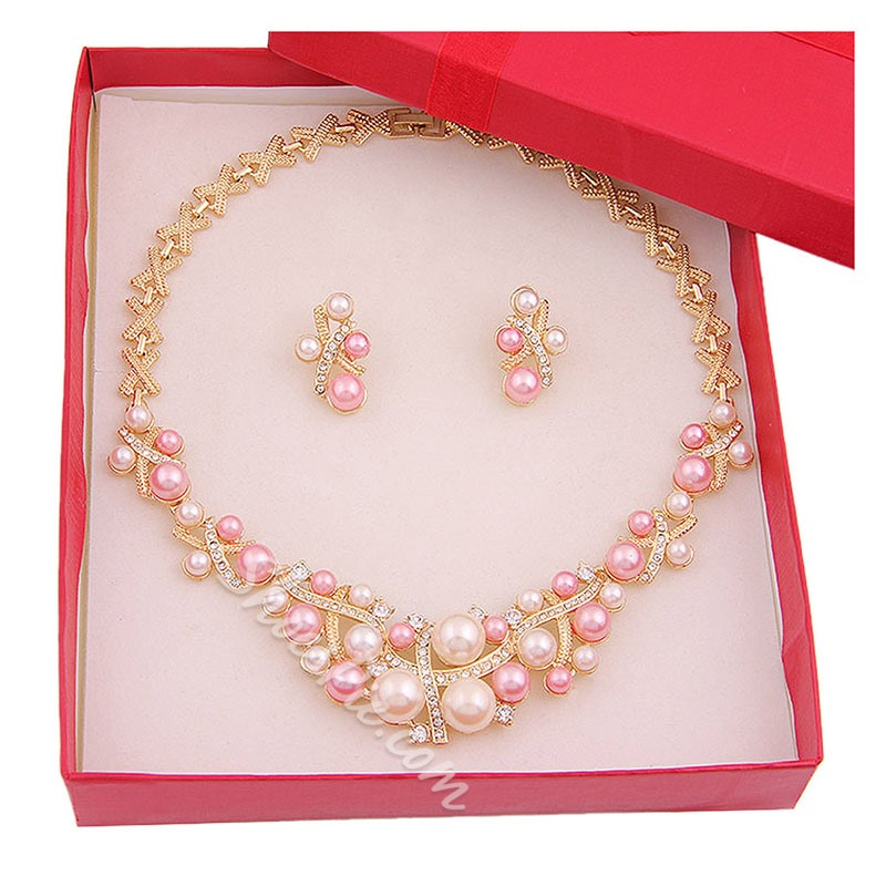 Pearl Inlaid Bangle European Prom Jewelry Sets