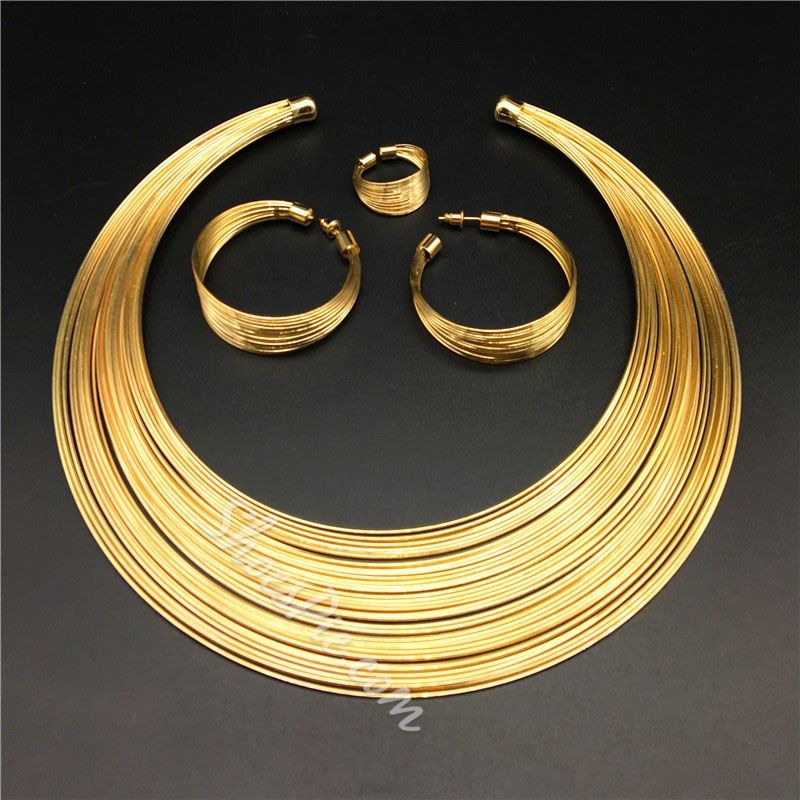 Plain Necklace Earrings African Jewelry Sets
