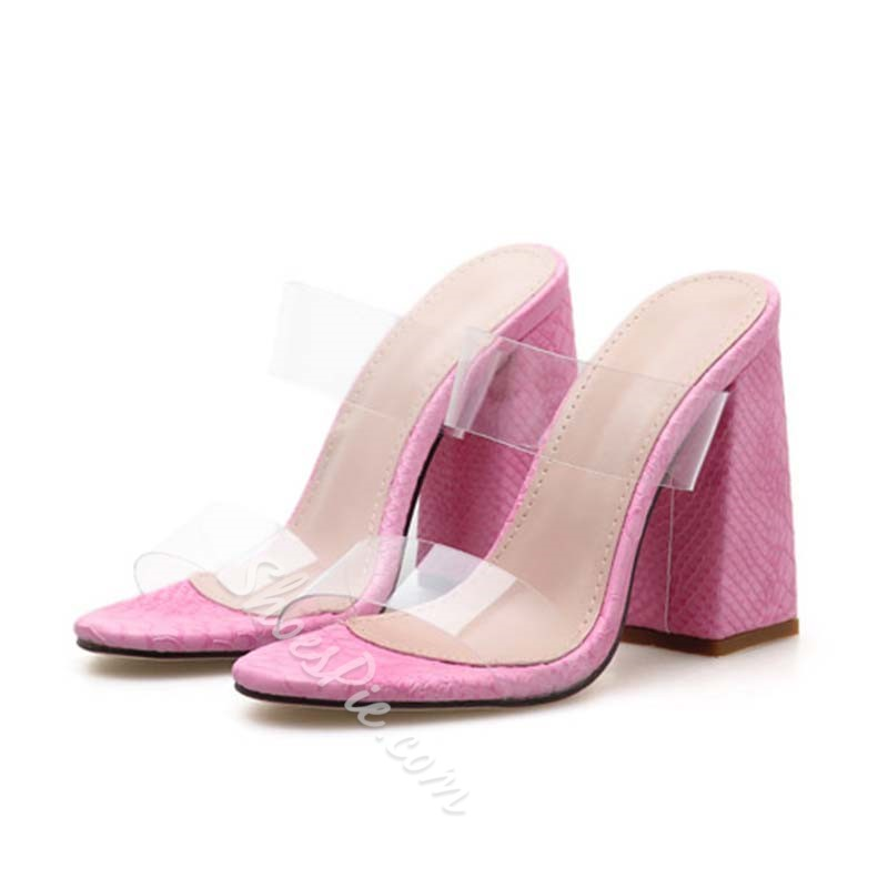 Shoespie Jelly Chunky Heel Serpentine Slippers