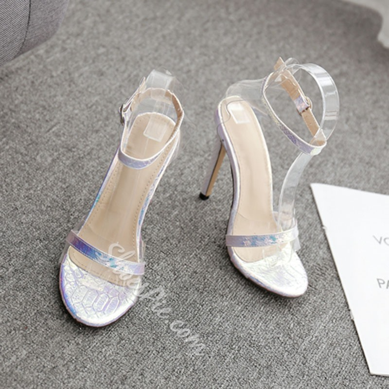 Shoespie Clear Stiletto Heel Buckle Strap Sandals
