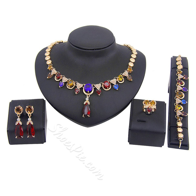 Ring European Crystal Inlaid Party Jewelry Sets