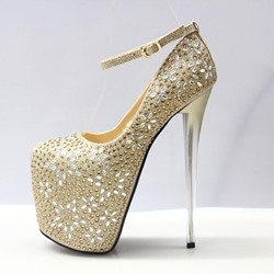 Shoespie Rhinestone Buckle High Heels