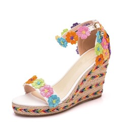 Shoespie Flower Wedge Heel Color Block Sandals