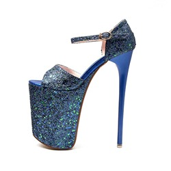 Shoespie Glitter Platform Peep Toe Buckle Stiletto Heels