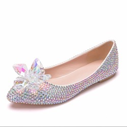 Shoespie Stylish Rhinestone Crystal Flats