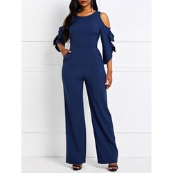Falbala Full Length Plain Wide Legs Women's Jumpsuit