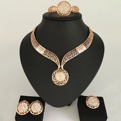 Diamante Ring Plain Anniversary Jewelry Sets