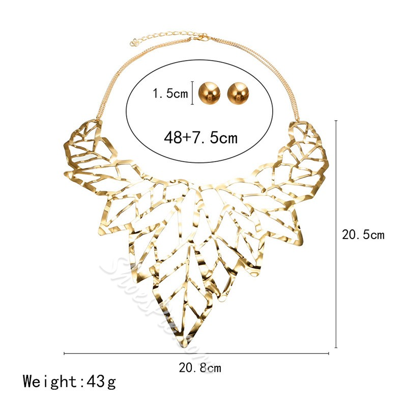 Hollow Out Leaf Shape Gold Color Party Jewelry Set