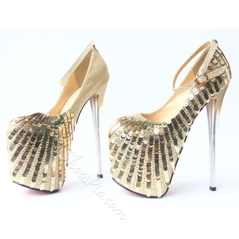 Shoespie Glitter Buckle Prom Stiletto Heels