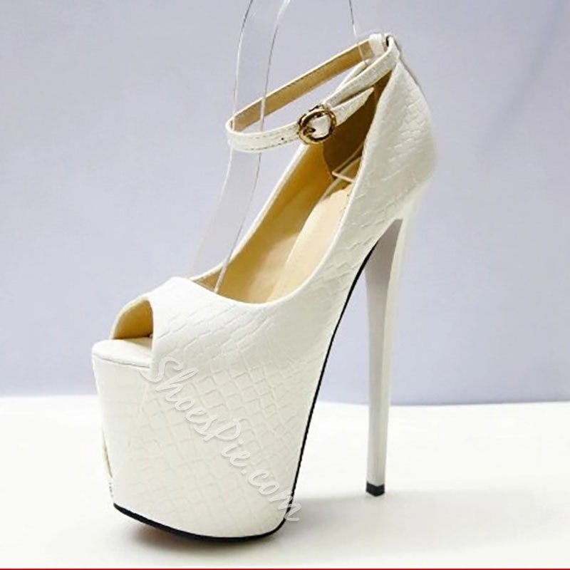 Shoespie Peep Toe Platform Buckle Stiletto Heels
