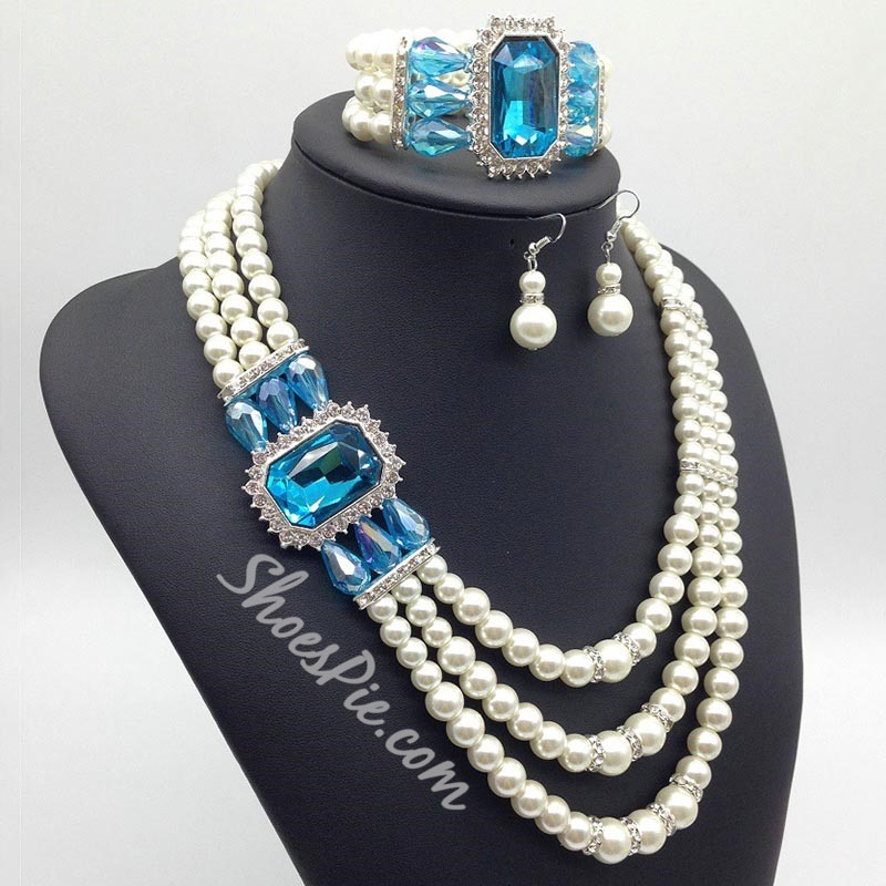 Multi Layer Pearl Bead Wedding Jewelry Set