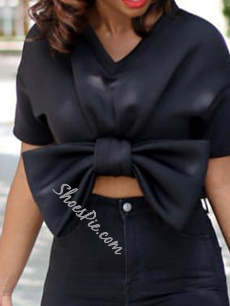 Regular Plain Bowknot Short Sleeve Women's Blouse