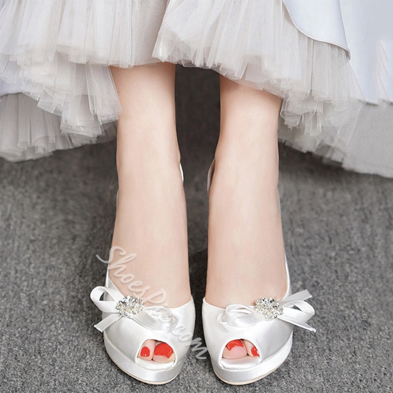 Shoespie Peep Toe Stiletto Heel Bow Prom Shoes