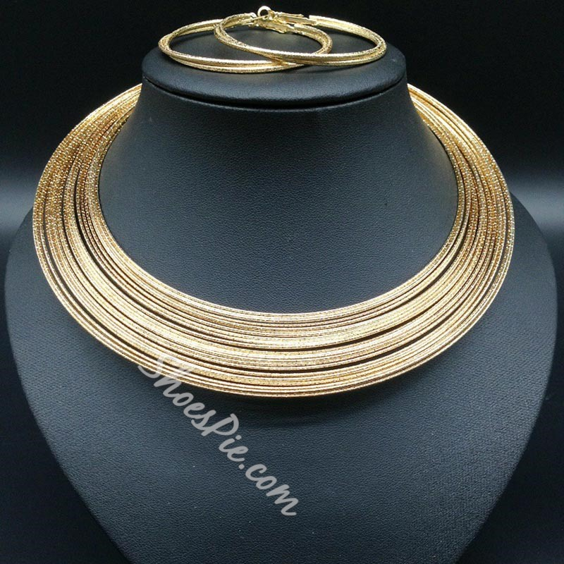 Multi Layer Necklace Fashion Nigerian Jewelry Set